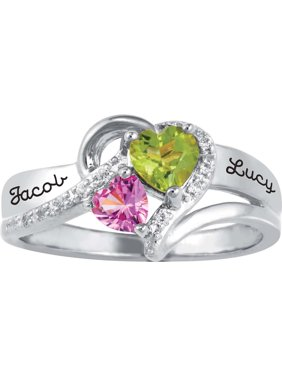 Personalized Family Jewelry Cubic Zirconia Birthstone Everafter Ring available in Sterling Silver, Gold over Silver, Yellow and White Gold