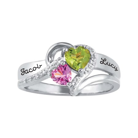 Birthstone Bar Ring Personalized Jewelry - Personalized Family Jewelry Cubic Zirconia Birthstone Everafter Ring available in Sterling Silver, Gold over Silver, Yellow and White Gold