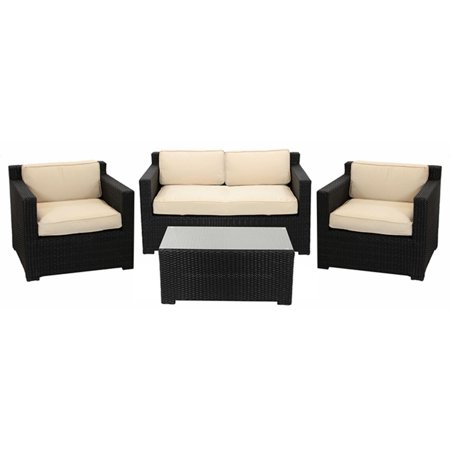 4 piece black resin wicker outdoor patio furniture set for Outdoor furniture 4 piece