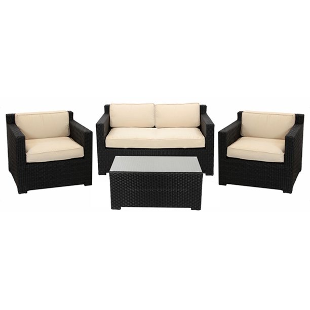 4-Piece Black Resin Wicker Outdoor Patio Furniture Set ...