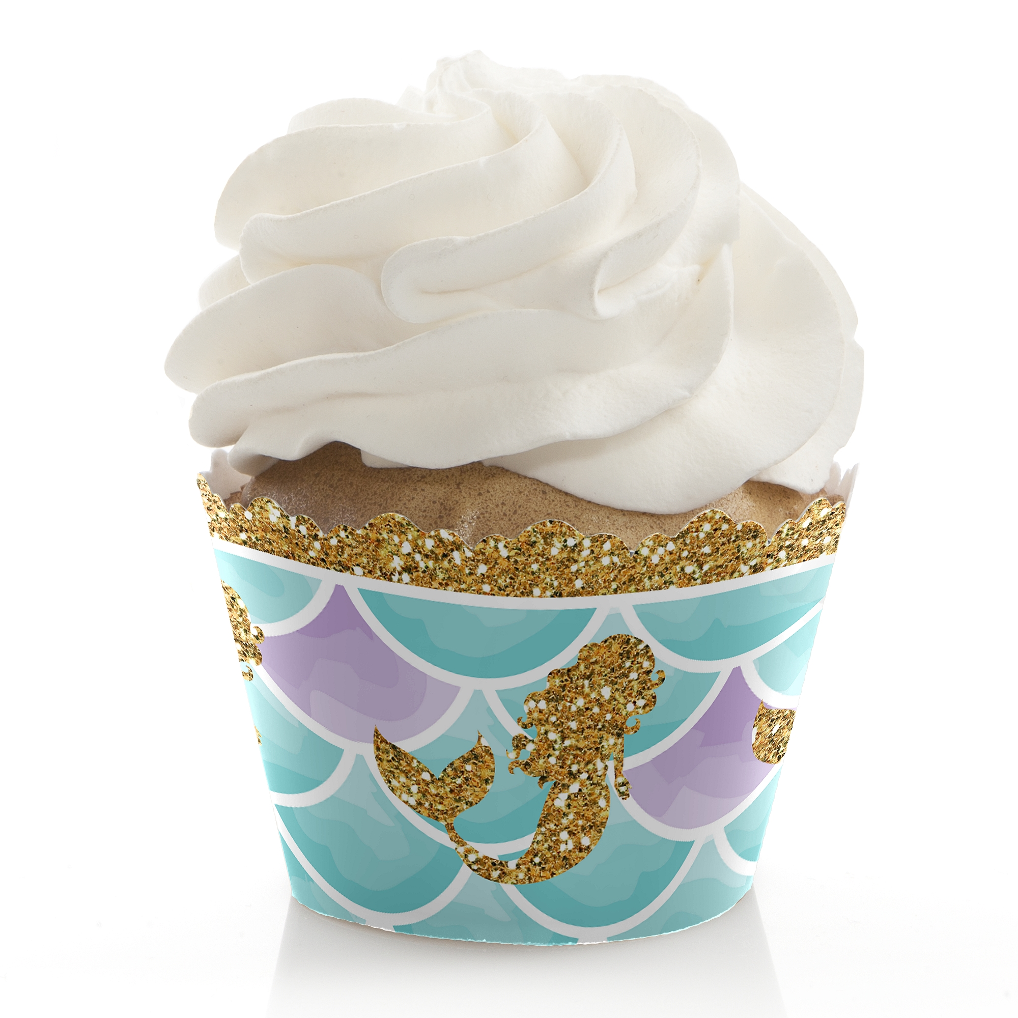 Let's Be Mermaids - Baby Shower or Birthday Party Cupcake Wrappers - Set of 12
