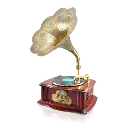 Pyle Vintage Retro Classic Style Bluetooth Turntable Phonograph Speaker System with MP3 Recording Ability by