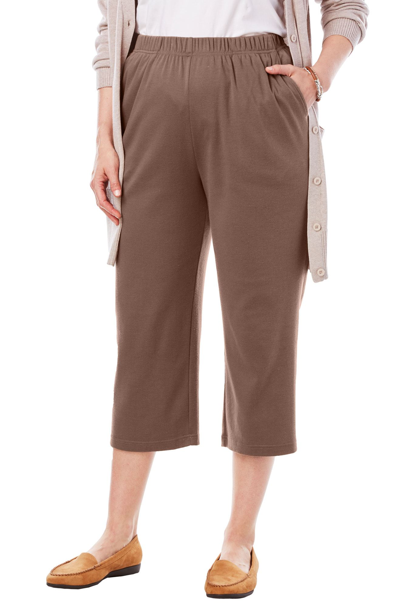 Woman Within Plus Size 7-day Knit Capri