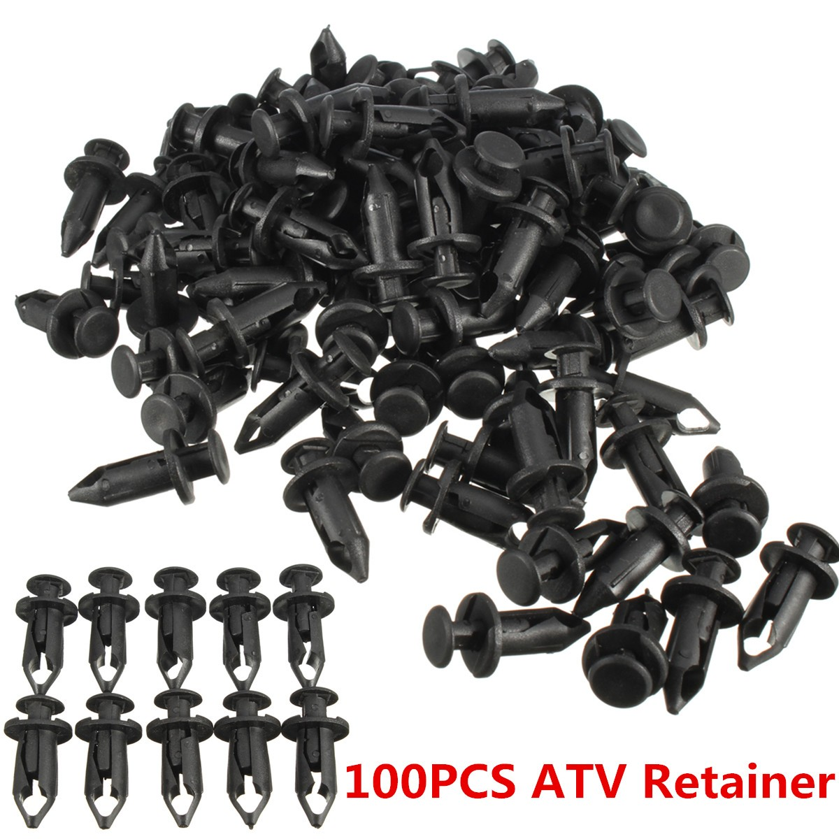 Set Of 100 ATV Retainer Clips 8mm Push Pin Splash Guard Body Panel Fit For Honda ATV, Side-by-Side & UTV Fenders Auto Parts & Accessories