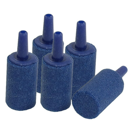5 Pcs Blue 15mm Dia Cylinder Mini Air Bubble Stone for Aquarium ()
