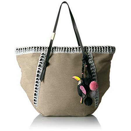 Foley + Corinna Beach Tote with Charm, Black Trim/Toucan