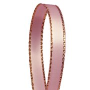 Light Pink Satin with Gold Edge Trim 3/8 inches x 50 yards Decorative Ribbon