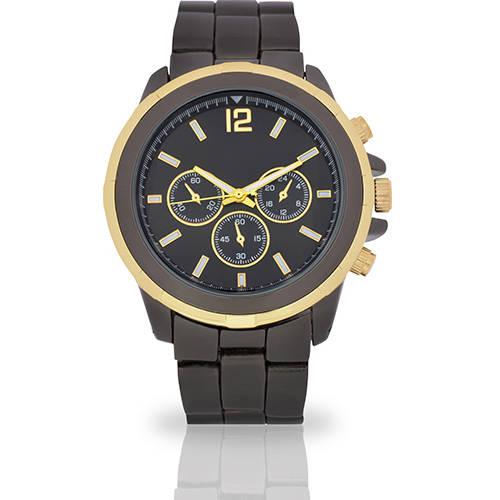 Image of Men's Black 3-Eye Face Fashion Watch, Faux Gold Band