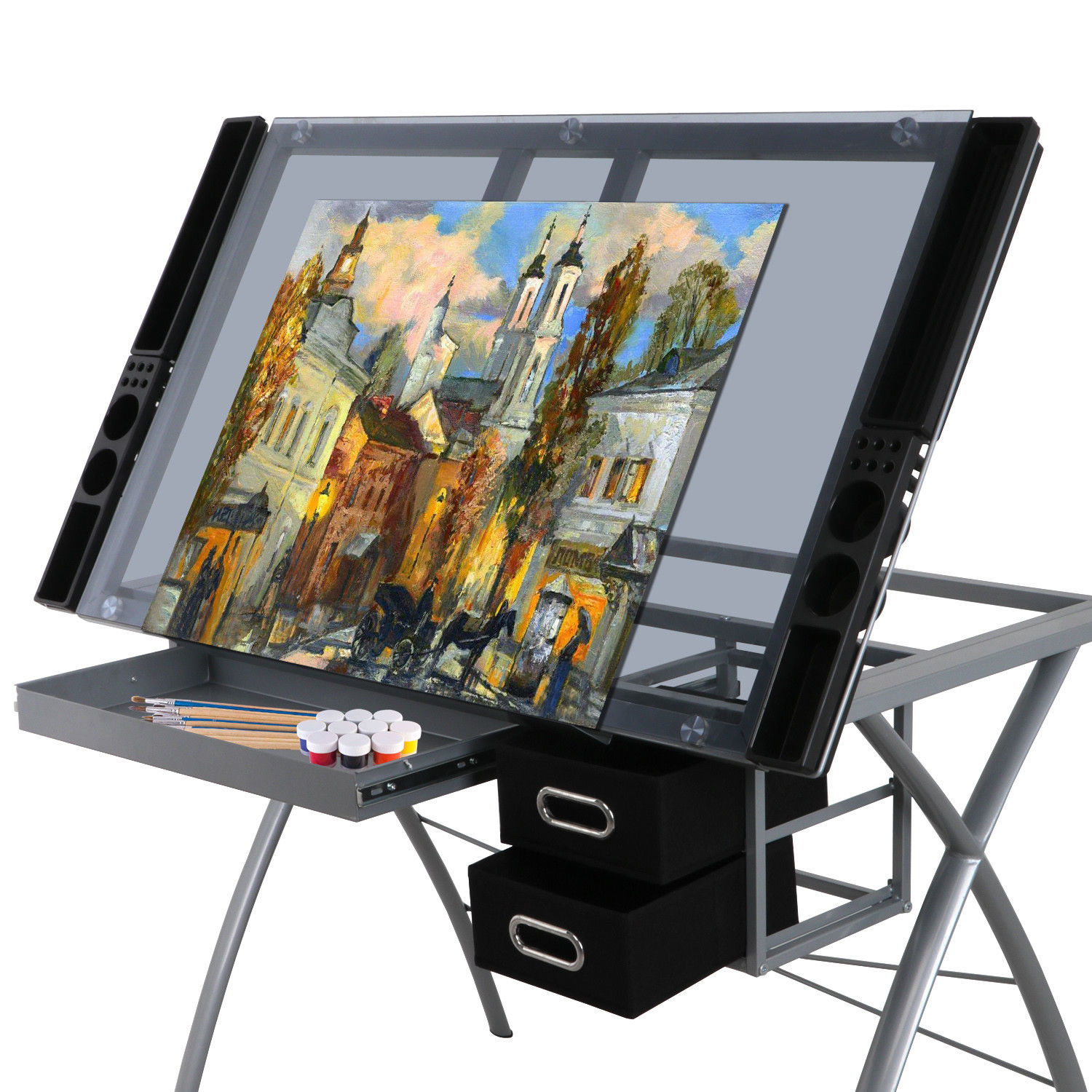 ZENY Adjustable Drafting Table Craft Station Drawing Desk Glass Top Art & Craft Hobby