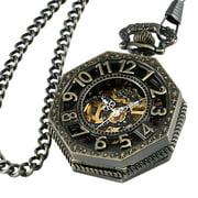 Hexagonal Windup Mechanical Pocket Watch Golden Movement Black Face Chain Mens