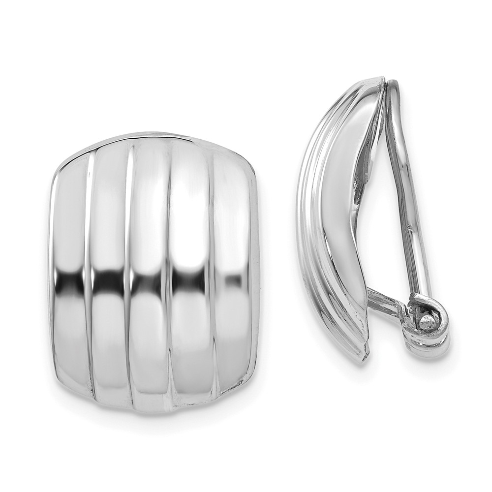 14k White Gold Polished Ribbed Non-pierced Omega Back Earrings (0.6IN x 0.4IN )