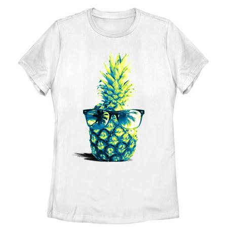 Women's Pineapple Sunglasses T-Shirt (Pineapple With Sunglasses)