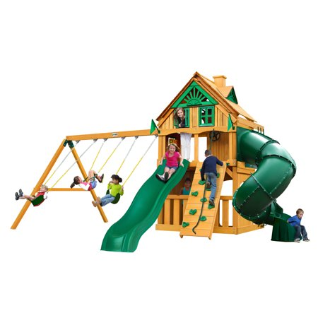 gorilla playsets mountaineer clubhouse treehouse wooden swing set with fort add on and tube. Black Bedroom Furniture Sets. Home Design Ideas