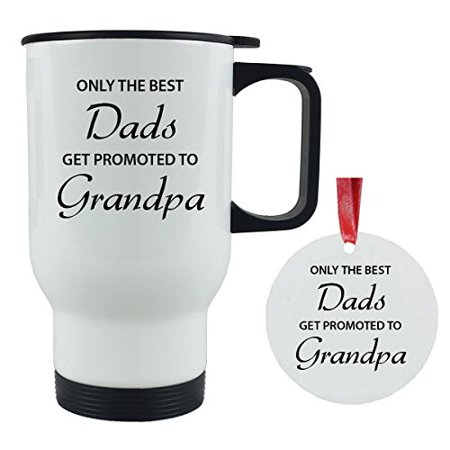 only the best dads get promoted to grandpa 14 oz stainless steel travel coffee mug