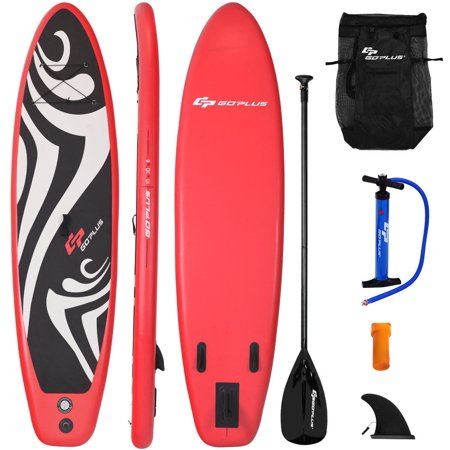 Goplus 10' Inflatable Stand up Paddle Board Surfboard SUP W/ Bag Adjustable Fin - Stand Up Surfboard