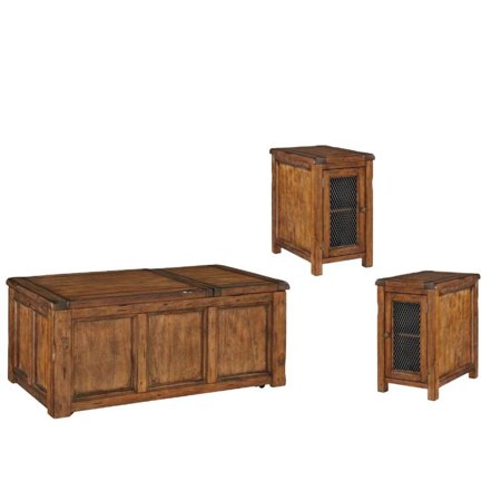 3 Piece Rustic Coffee Table Set With And Of 2 End In Medium Brown