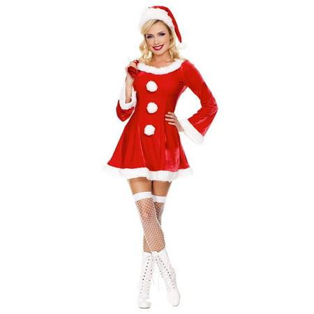 Marabou 3 Piece (Music Legs 70457-SM 3 Piece Long Sleeve Marabou Trimmed Velvet Dress with Santa Sack & Hat - Small &)