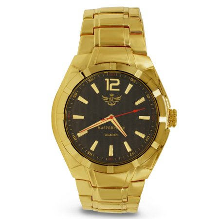 Gold Matte Accented Bezel Executive Mens Watch (Falcons Mens Executive Watch)
