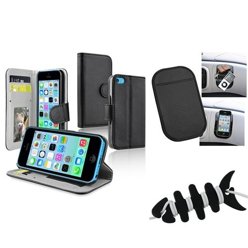 Insten Black Stand Wallet Card Leather Case Mat Headset Wrap For Apple iPhone 5C