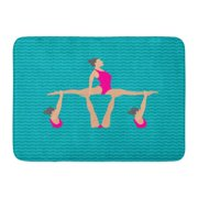 GODPOK Active Blue Synchro of in The Womens Synchronised Swimming Flat Style White Action Adult Rug Doormat Bath Mat 23.6x15.7 inch