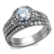 new stainless steel cubic zirconia 2 piece wedding band ring set sizes 5 11 - Cubic Zirconia Wedding Ring Sets