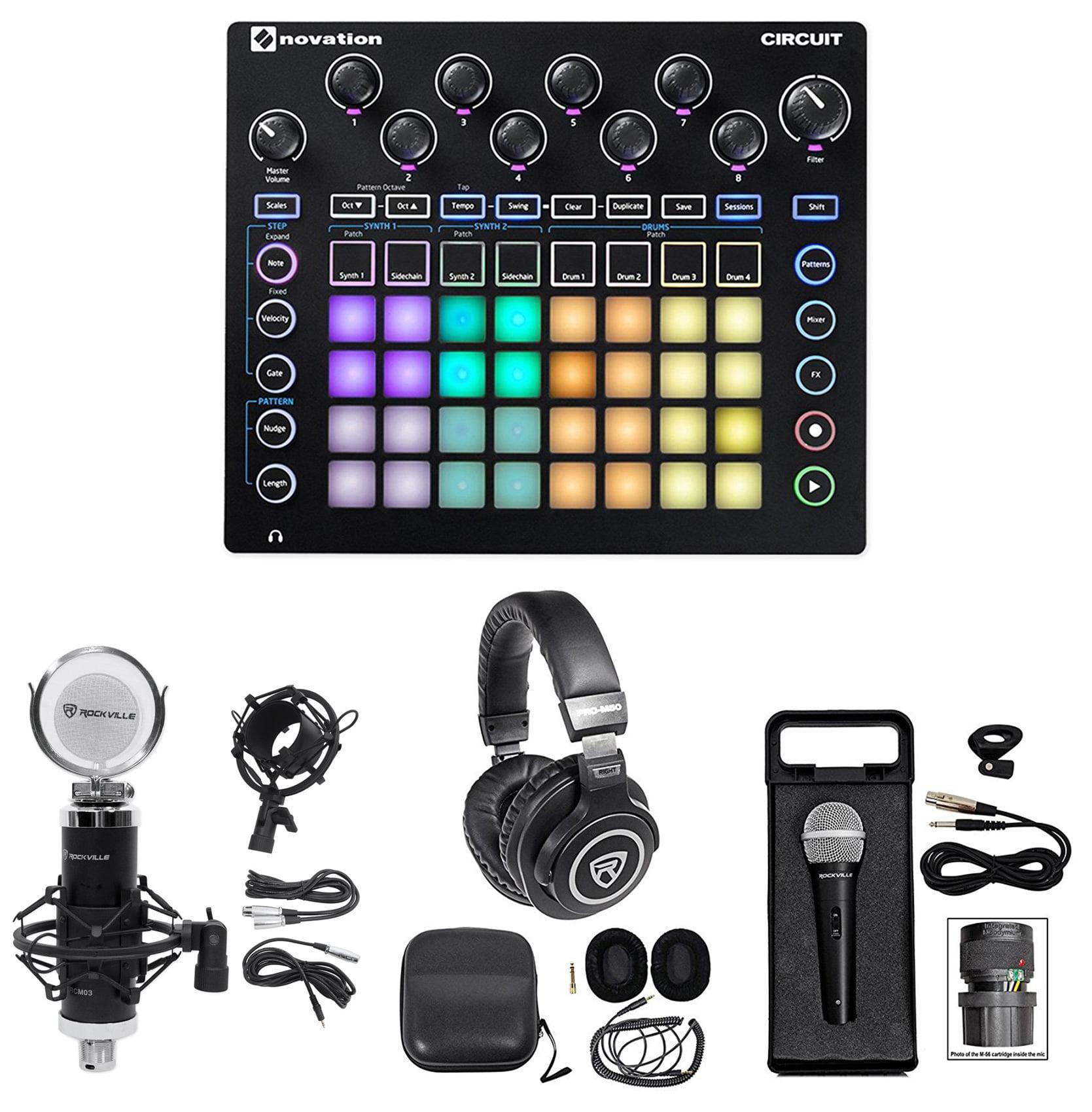 Novation CIRCUIT Groove Box Music Controller Pad Drum Machine+2) Mics+Headphones by NOVATION