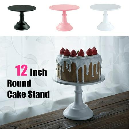Meigar 12 Inch Iron Round Cake Stand Pedestal White Dessert Holder Wedding Party Decor ()