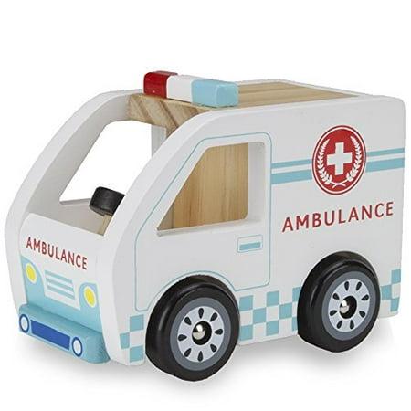 Imagination Generation Wooden Wheels Chunky Toy Ambulance Rescue Vehicle