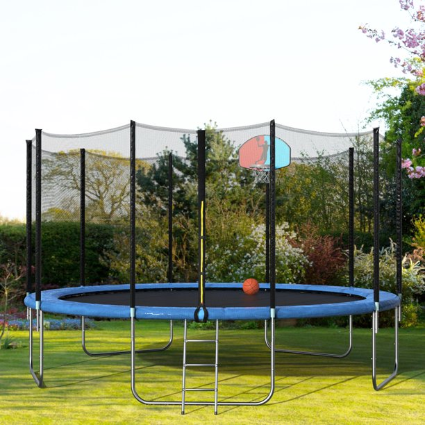 Merax 15' Round Trampoline with Safety Enclosure, Basketball Hoop and Ladder