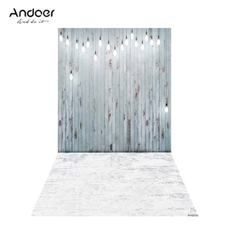 Andoer 1.5 * 0.9m/4.9 * 3.0ft Backdrop Photography Background Wood Wall Bright Light Picture for DSLR Camera Children Newborn Wedding Photo Studio