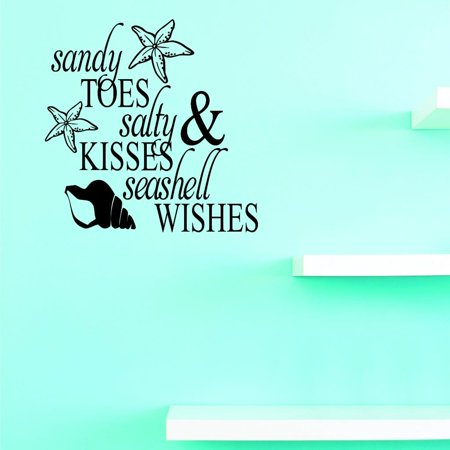 Custom Decals Sandy Toes Salty Kisses Seashell Wishes Wall Art Size: 12 X 12 Inches Color: - Wish Size Chart