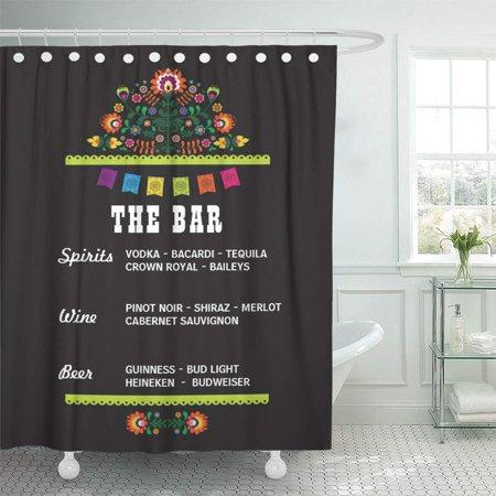XDDJA Reception Fiesta The Bar Party Wedding Sign Shower Curtain 66x72 inch - image 1 of 1