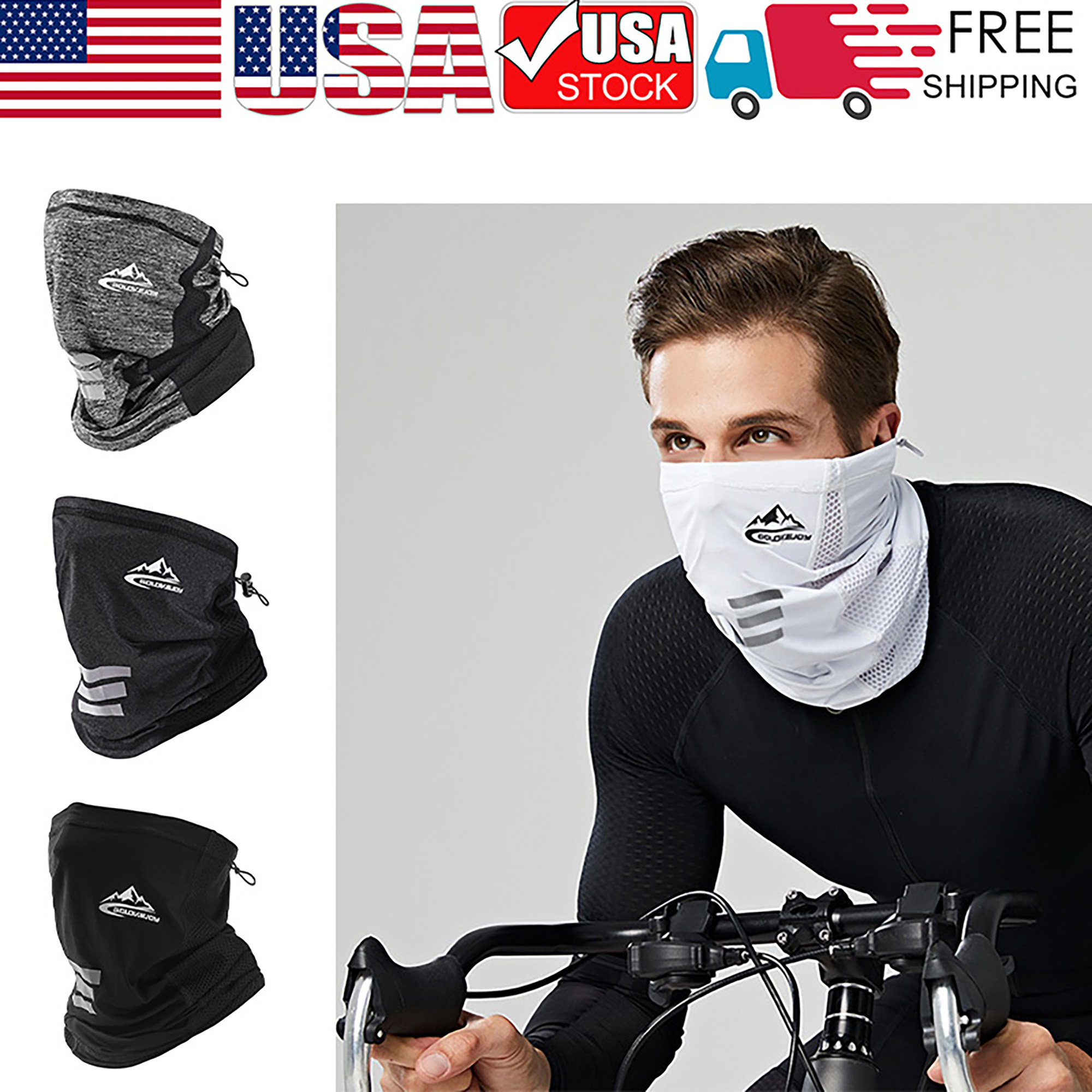 Details about  /Ice Silk Scarf Breathable Motorcycle Neck Gaiter Cycling Face Cover Bandana