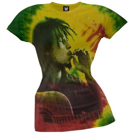 Bob Marley - Side Profile Smoke Tie-Dye Juniors T-Shirt