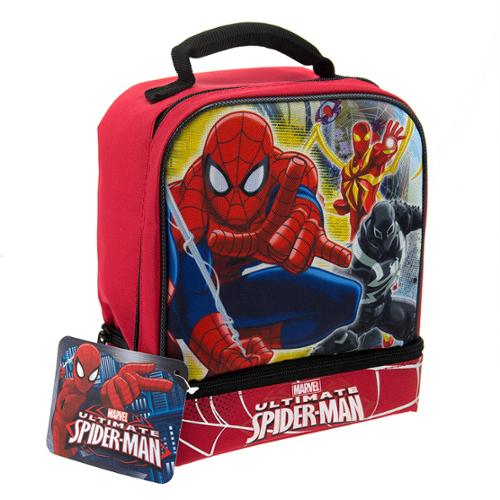 Marvel Ultimate Spiderman Comic Book Super Hero Kids Insulated 2-Section Padded Lunch Bags Lunchbox