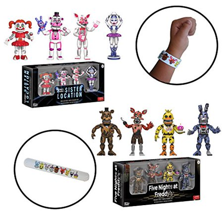 Five Nights at Freddy's FNAF Sister Location Mini Action Figure Toys 2-Pack Set with Bracelet (Fnaf 4 Halloween Update Trailer)