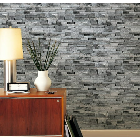 Full Wall Wallpaper Mural - Modern 3D Brick Stone Style Wallpaper Bedroom Living Mural Roll Wall Background,Gray