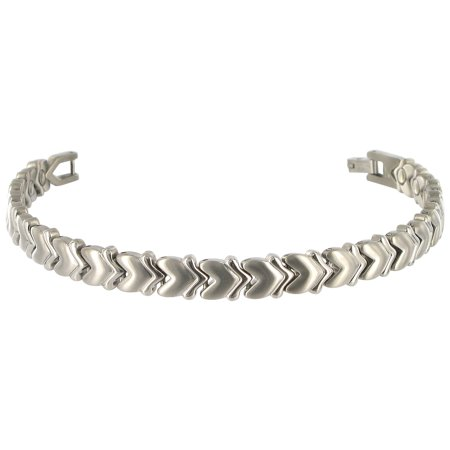 Gem Avenue Titanium Heart 8Mm Wide Polish Finish Magnetic Link Therapy Bracelet 7 5   With Fold Over Clasp