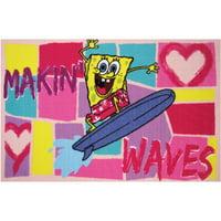 """Fun Rugs Nickelodeon SpongeBob Making Waves Kids Rugs 19"""" x 29"""" Rug"""