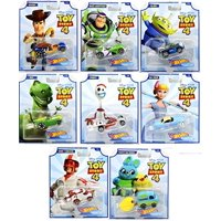 Hot Wheels Toy Story 4 - Complete Set of 8 Collectible Character Cars - Woody, Buzz Lightyear, Alien, Rex, Forky, Bo Peep, Duke Caboom, Ducky and Bunny