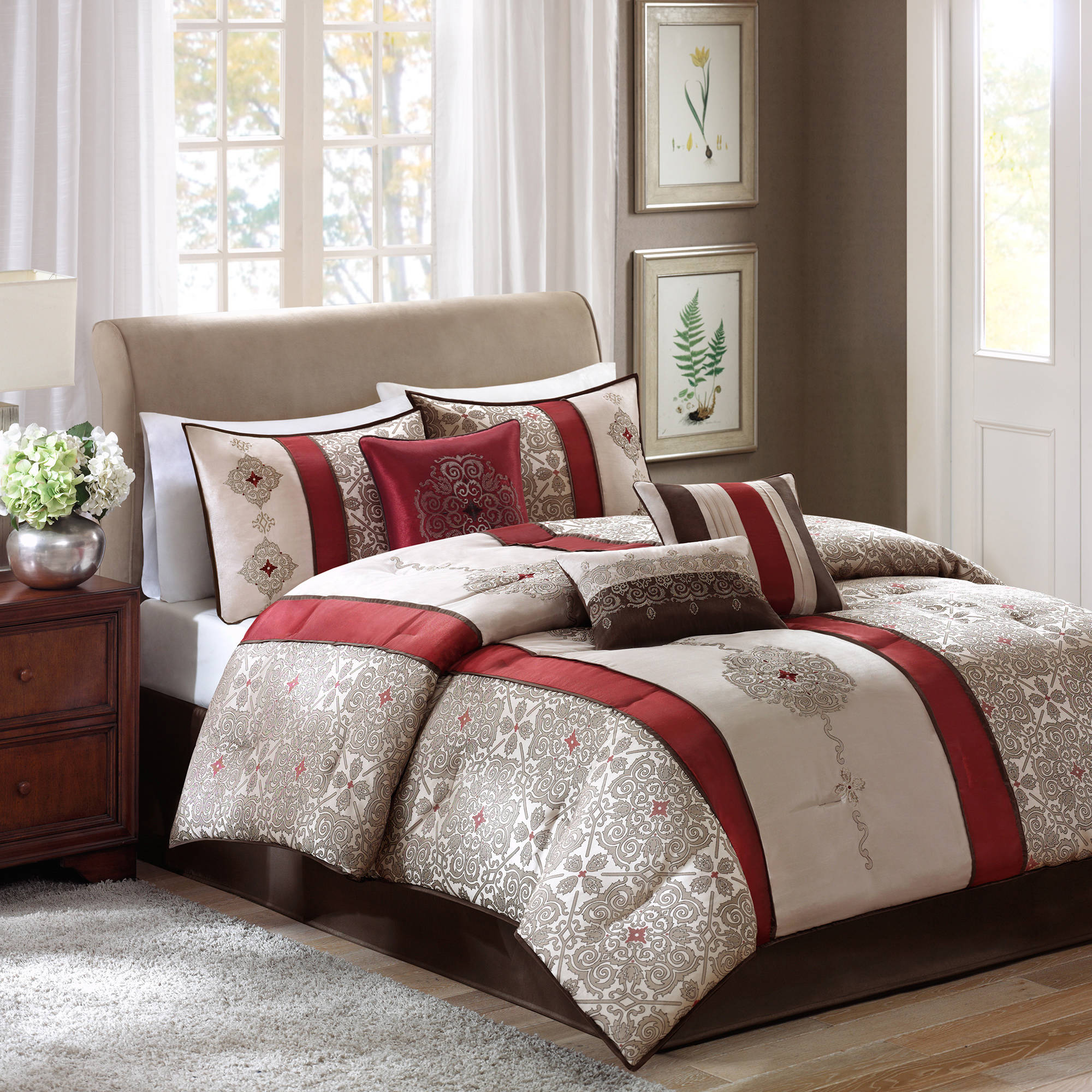 Home Essence Perry 7 Piece Jacquard Comforter Bedding Set