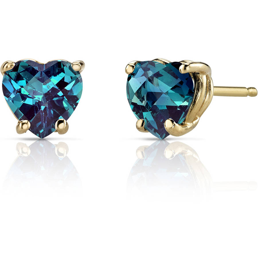 Oravo 2.00 Carat T.G.W. Heart-Shape Created Alexandrite 14kt Yellow Gold Stud Earrings
