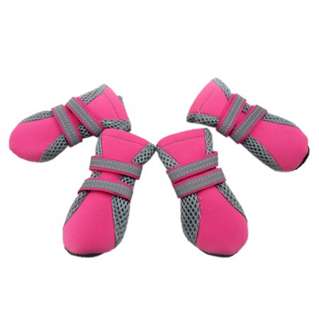 GOGO Soft Sole Nonslip Mesh Boots, Dog Boots with 2 Long Reflective Fastening Straps, Set of 4-rose red-L
