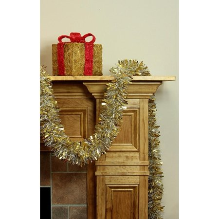 12' Soft Gold and Silver Wide Cut Christmas Tinsel Garland - Unlit](Tinsel Gold)
