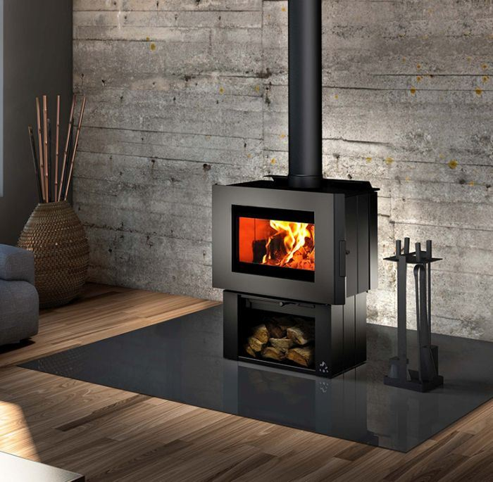 Soho Wood Stove w/Black Side Panels and Regular Pedestal