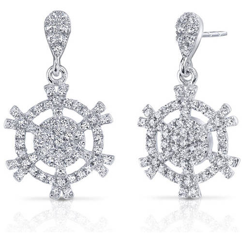 Oravo White Cubic Zirconia Rhodium over Sterling Silver Drop Earrings