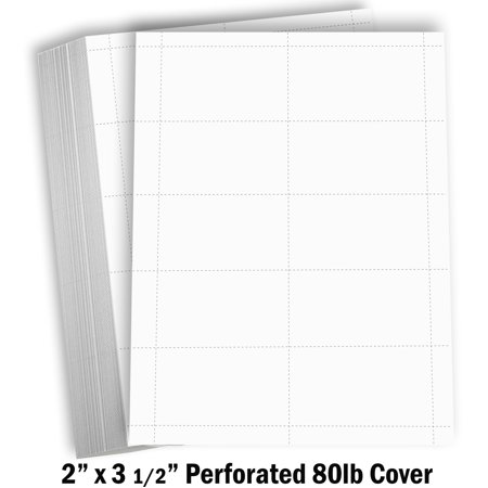 Hamilco Blank Business Cards Cardstock Paper - White Perforated Card Stock - 80 lb 3 1/2 x 2