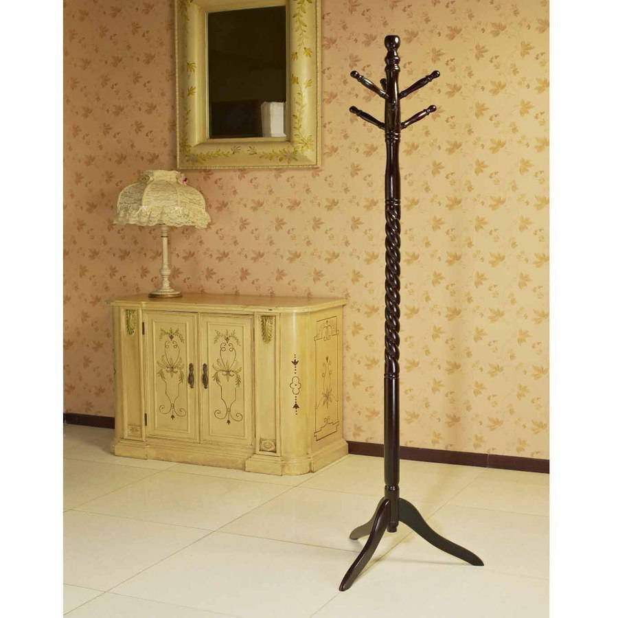 Home Craft Wooden Coat/Hat Rack Stand, Espresso