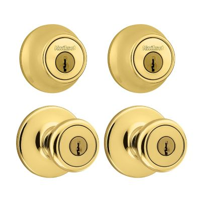 Kwikset 242 Tylo Keyed Entry Knob and Single Cylinder Project Pack,Polished Brass, 92420-031