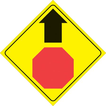 Yellow Plastic Reflective Sign 12 Inch - Stop Ahead ()